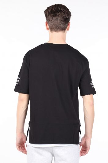 Men's Black Piece Crew Neck T-shirt - Thumbnail