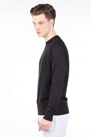 MARKAPIA MAN - Men's Black Straight Crew Neck Sweatshirt (1)