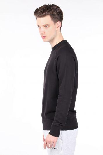 MARKAPIA MAN - Мужской черный свитшот с прямым круглым вырезом (1)