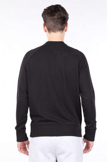 Мужской черный свитшот с прямым круглым вырезом - Thumbnail