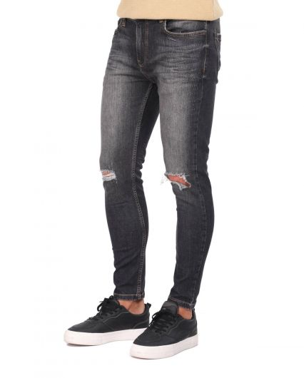 Banny Jeans - Men's Black Knee Torn Skinny Fit Jean Trousers (1)