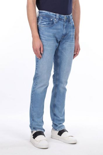 Мужские синие повседневные джинсовые брюки - Thumbnail