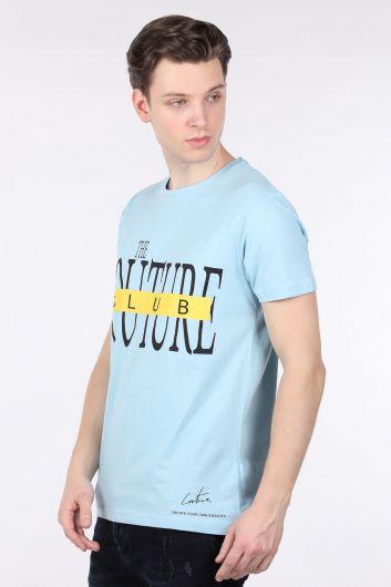 Мужская футболка с круглым вырезом и принтом Blue Couture - Thumbnail