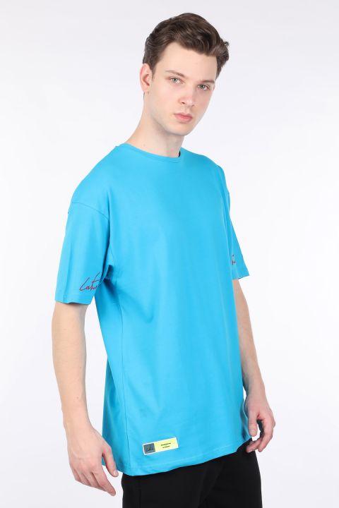 تي شيرت أزرق رجالي كبير الحجم بياقة دائرية