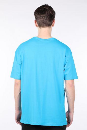 تي شيرت أزرق رجالي كبير الحجم بياقة دائرية - Thumbnail