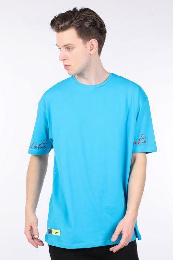 Синяя мужская футболка оверсайз с круглым вырезом - Thumbnail