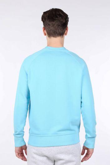 Мужская синяя толстовка с прямым круглым вырезом - Thumbnail