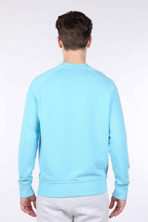 Мужская синяя толстовка с прямым круглым вырезом