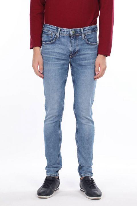 Men's Blue Straight Leg Trousers