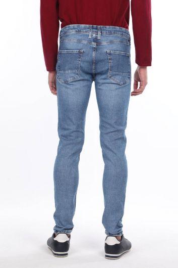 Men's Blue Straight Leg Trousers - Thumbnail