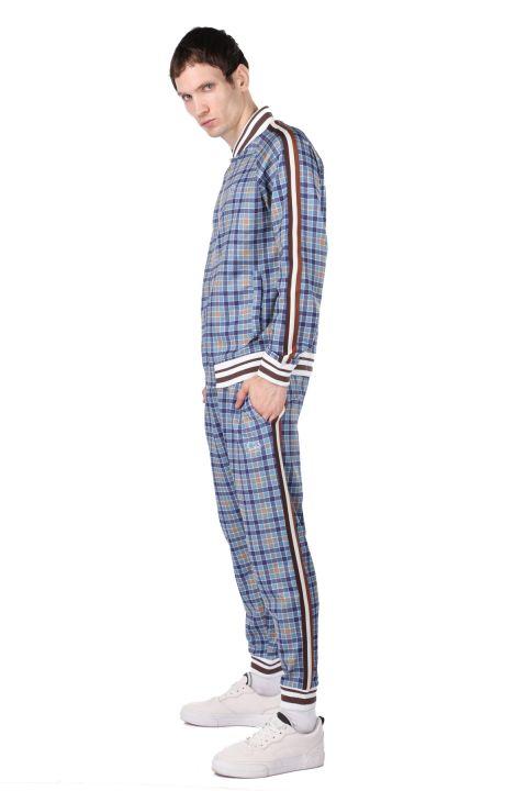 طقم بدلة رياضية منقوشة باللون الأزرق الجانبي للرجال