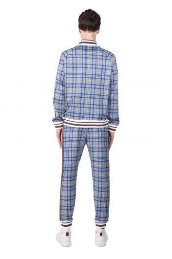 طقم بدلة رياضية منقوشة باللون الأزرق الجانبي للرجال - Thumbnail