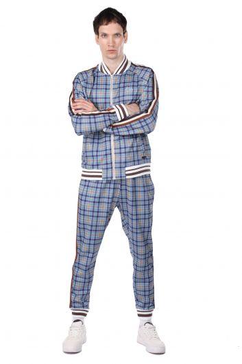 Мужской спортивный костюм в синюю клетку с полосками по бокам - Thumbnail
