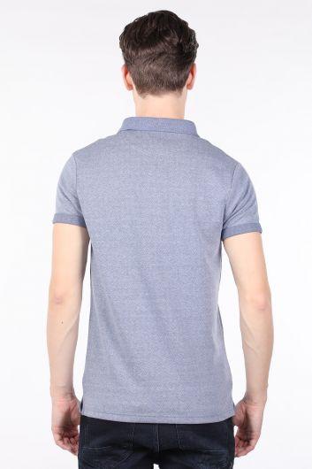 Men's Blue Polo Neck T-shirt - Thumbnail