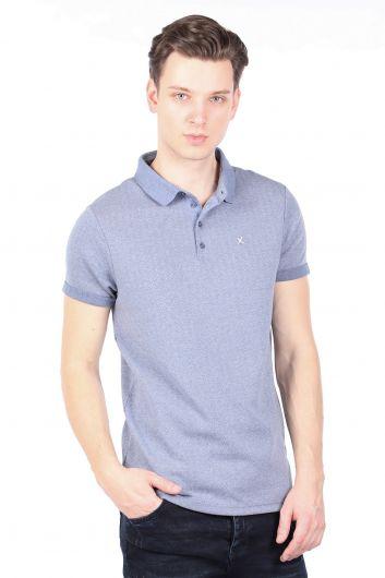 Синяя мужская футболка с воротником-поло - Thumbnail