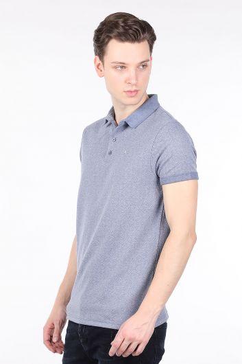 BLUE WHITE - Синяя мужская футболка с воротником-поло (1)