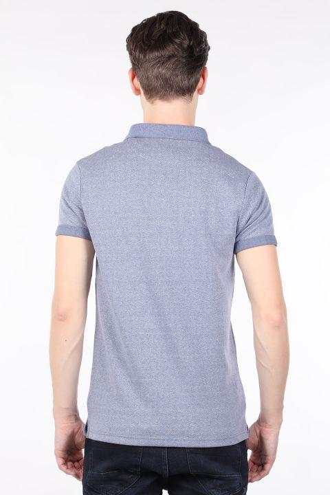 Синяя мужская футболка с воротником-поло