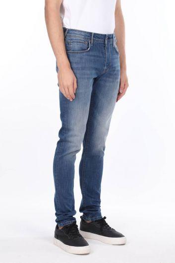 MARKAPIA MAN - بنطلون جينز أزرق ضيق للرجال بقصة عادية (1)