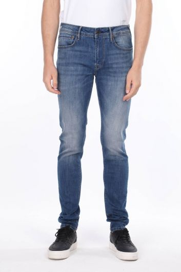 Men's Blue Regular Fit Skinny Leg Jeans - Thumbnail