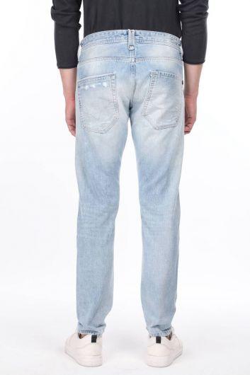 بنطلون جينز أزرق ممزق للرجال - Thumbnail