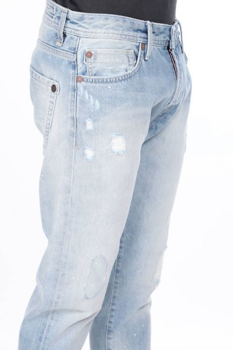 بنطلون جينز أزرق ممزق للرجال