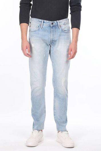 Мужские синие рваные джинсовые брюки с детализированной отделкой - Thumbnail