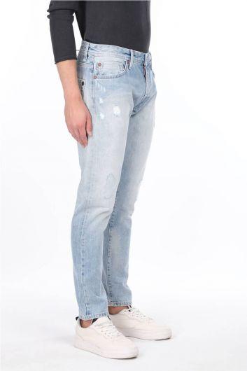 MARKAPIA MAN - Мужские синие рваные джинсовые брюки с детализированной отделкой (1)
