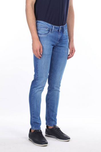 MARKAPIA MAN - بنطلون جينز بقصة مستقيمة زرقاء للرجال (1)