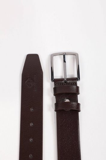 Men's Brown Plain Genuine Leather Belt - Thumbnail
