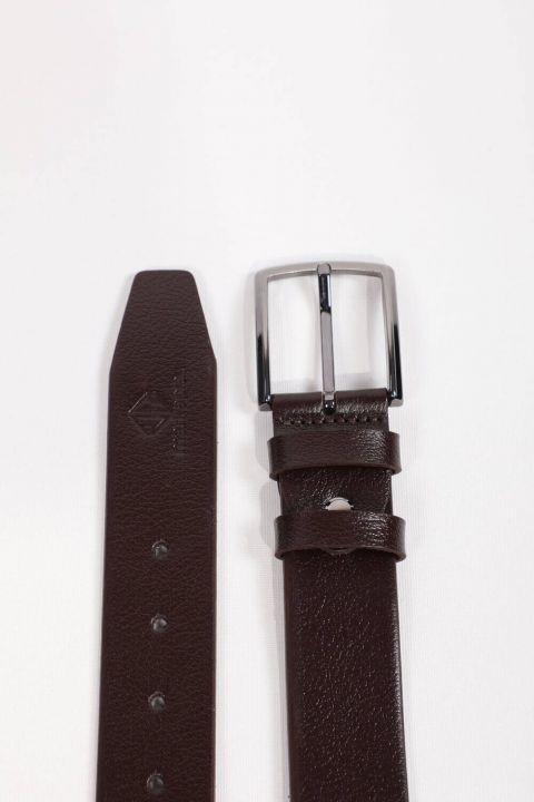 Men's Brown Plain Genuine Leather Belt
