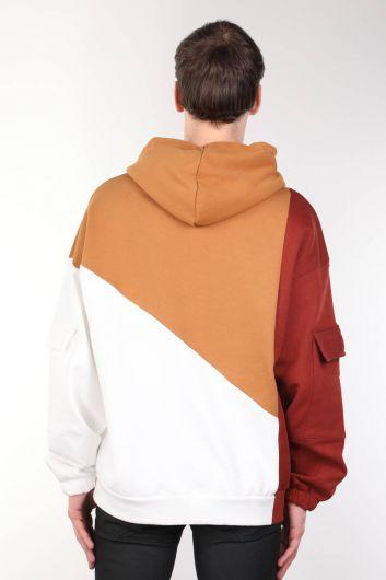 Men's Brown Piece Hooded Oversize Sweatshirt - Thumbnail