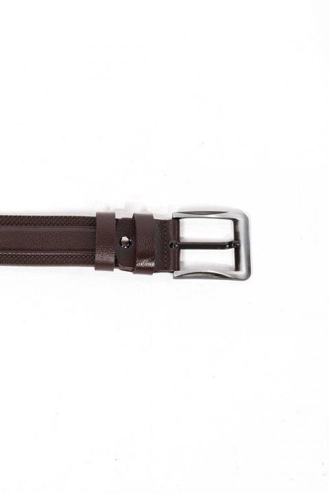 حزام جلد طبيعي مزخرف بني للرجال