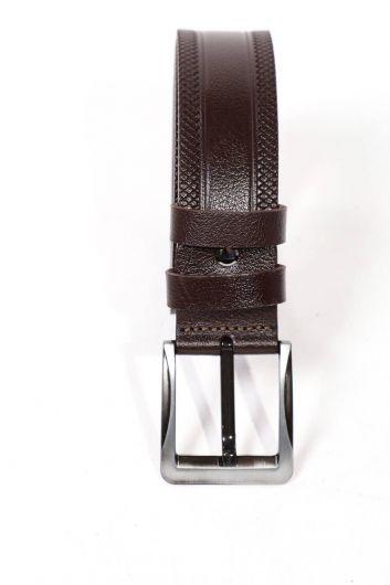 حزام جلد طبيعي مزخرف بني للرجال - Thumbnail