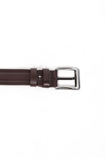 Men's Brown Patterned Genuine Leather Belt - Thumbnail