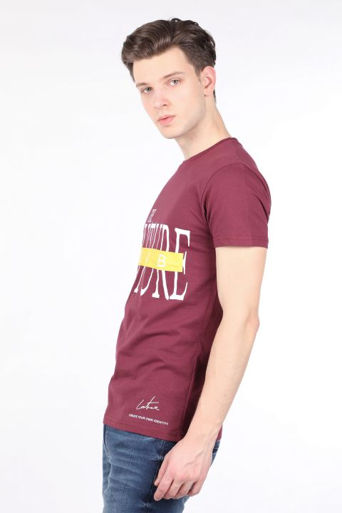 Men's Burgundy Couture Printed Crew Neck T-shirt