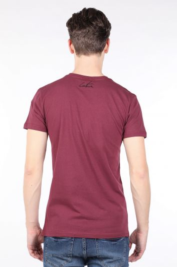 Мужская футболка с круглым вырезом и принтом Burgundy Couture - Thumbnail