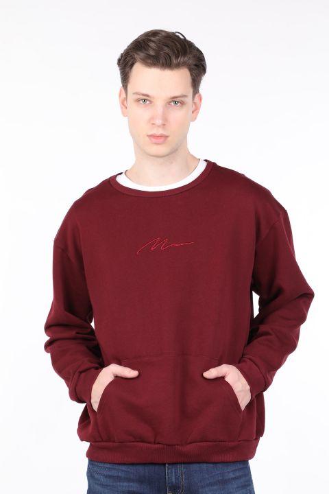 Men's Burgundy Raised Crew Neck Sweatshirt