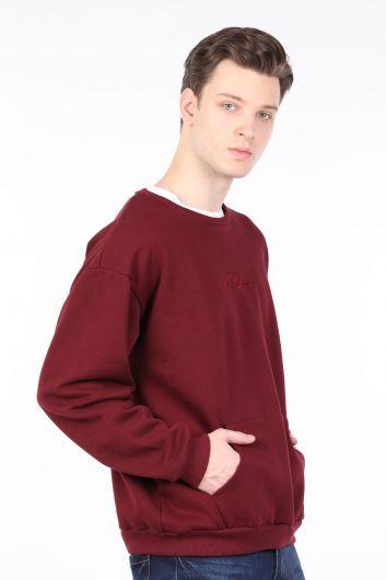 Men's Burgundy Raised Crew Neck Sweatshirt - Thumbnail