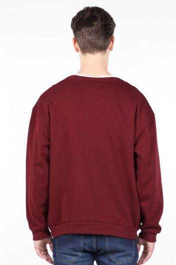 Бордовый мужской свитшот с круглым вырезом с приподнятым вырезом - Thumbnail