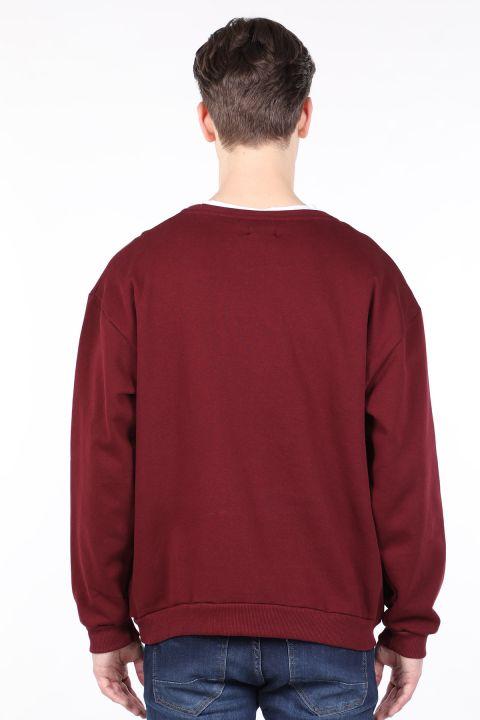Бордовый мужской свитшот с круглым вырезом с приподнятым вырезом