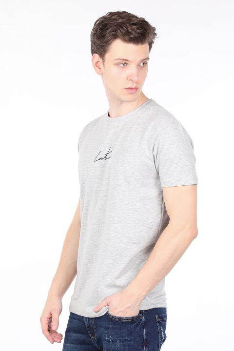 Мужская серая футболка с круглым вырезом на спине с принтом Couture
