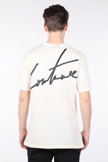 Мужская футболка с круглым вырезом на спине и кремовым принтом - Thumbnail