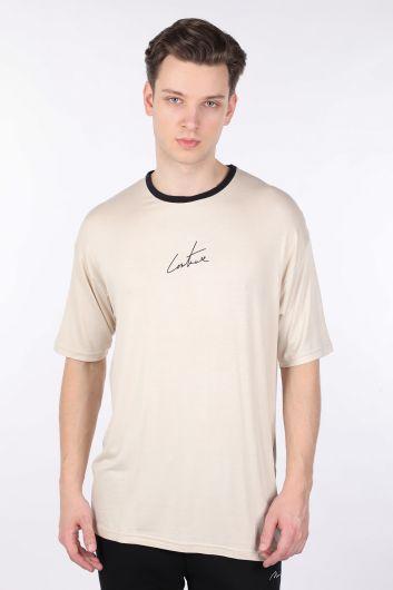 Men's Cream Collar Black Piping Crew Neck T-shirt - Thumbnail