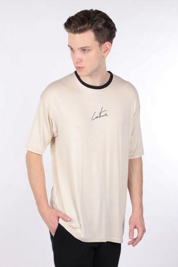 COUTURE - Черная футболка с круглым вырезом и кремовым воротником (1)