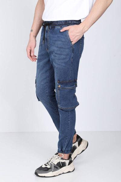 BLUE WHITE - Men's Dark Blue Cargo Pocket Jogger Trousers (1)