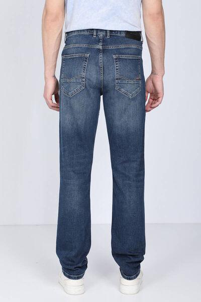 BLUE WHITE - Мужские темно-синие повседневные джинсовые брюки (1)