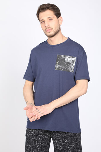 Men's Dark Blue Crew Neck T-shirt - Thumbnail