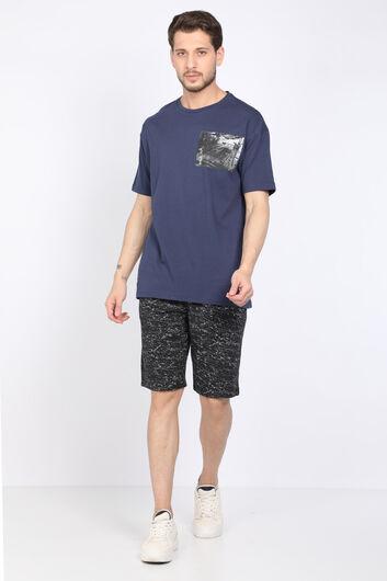 COUTURE - Мужская темно-синяя футболка с круглым вырезом (1)
