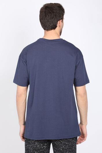 Мужская темно-синяя футболка с круглым вырезом - Thumbnail
