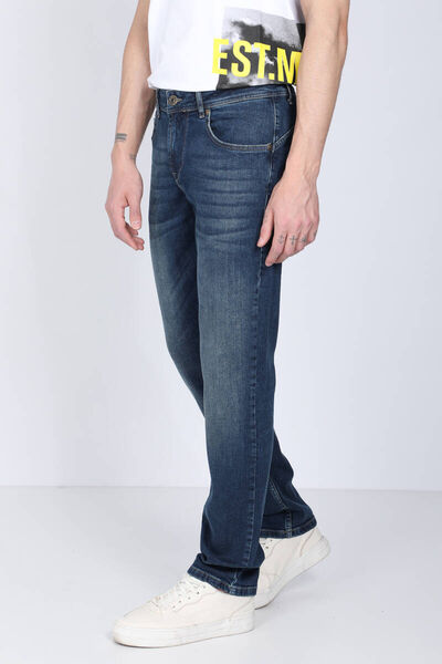 BLUE WHITE - Men's Dark Blue Straight Leg Jean Trousers (1)